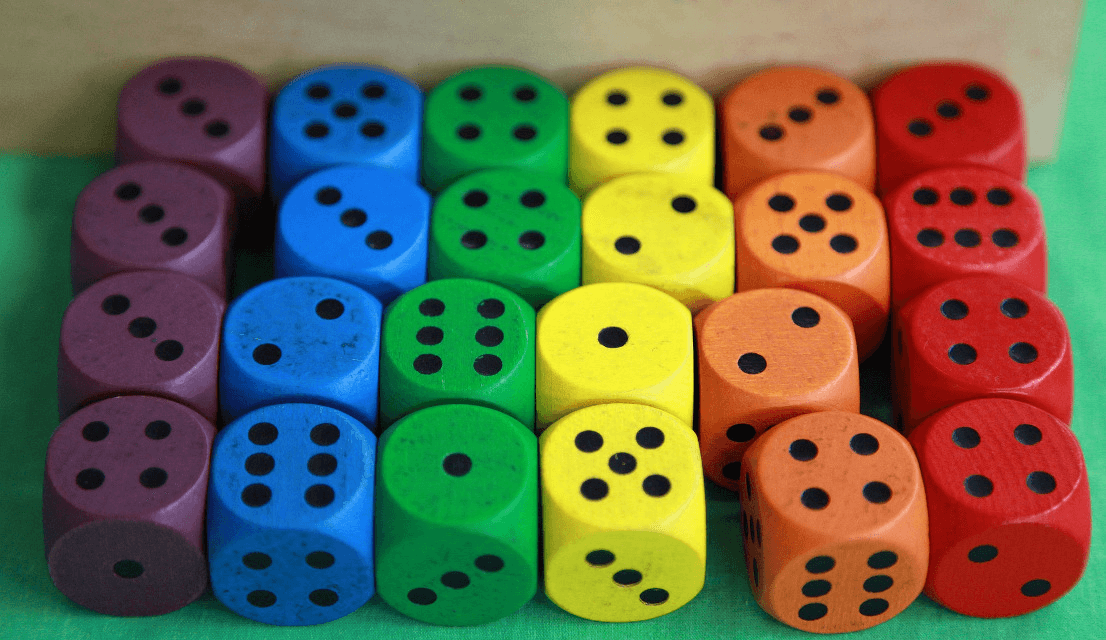 wooden dice in colors